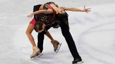 Overreaching for greatness: Russia's Vera Bazarova and Yuri Larionov. Photograph: Toru Hanai/Reuters