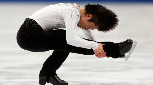 Tatsuki Machida of Japan proves his elasticity. Photograph: Kiyoshi Ota/EPA