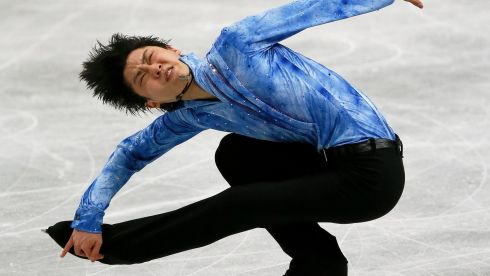 The face of Olympic champion Yuzuru Hanyu of Japan says a lot. Photograph: Kimimasa Mayama/EPA