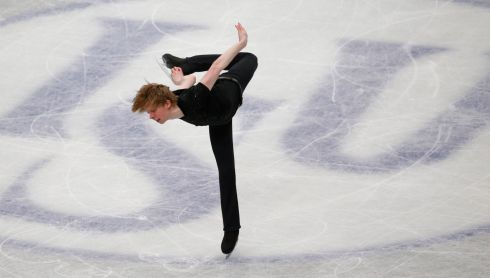 Canada's Kevin Reynolds get flamingo-like.  Photograph: Toru Hanai/Reuters