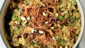 Mejadra with pistachios and raisins. Photograph: Alan Betson