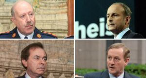 Clockwise from top left: Playing various parts in the whistleblower controversy are now departed Garda commissioner Martin Callinan, Fianna Fáil leader Micheál Martin, Taoiseach Enda Kenny and Minister for Justice Alan Shatter