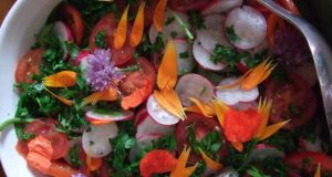 Summer salad with flower petals (bitter flavour for the heart and the early summer season).