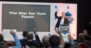 Matt Mickiewicz speaking about Hired.com at the Web Summit it Dublin in 2012, just one year after he first met Allan Grant at F.ounders in Dublin.