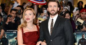 Scarlett Johansson and Chris Evans at the UK premiere of Captain America: The Winter Soldier on March 20th
