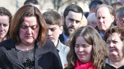 Nicky McFadden's daughter Caren (wearing pink scarf) and sister, Gab (left) at the late TD's funeral. Photograph: Colin Keegan/Collins