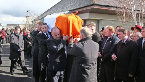 The remains of late TD Nicky McFadden are carried from the Church of Our Lady Queen of Peace, Coosan, Athlone, during her funeral.  Photograph: Colin Keegan/Collins