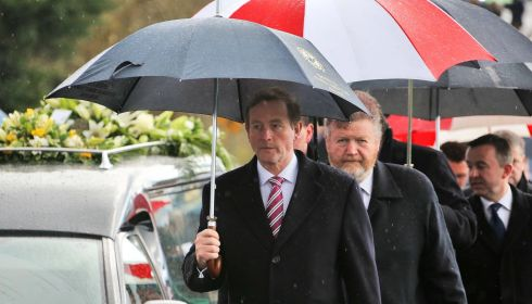 Taoiseach Enda Kenny with Minister for Health James Reilly accompanying the remains during the funeral. Photograph: Colin Keegan/Collins