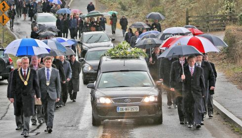 A section of the cortege during Nicky McFadden's funeral at Athlone. Photograph: Colin Keegan/Collins