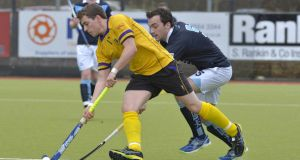 Pembroke's Patrick Shanaghan and Richard Arneill of Lisnagarvey in action during their Irish Hockey League Men's Pool A match on March 8th. Both sides will be seeking this weekend to clinch places in the finals. Photograph: Inpho