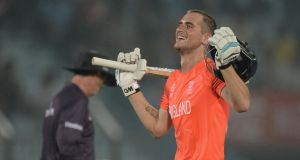 Alex Hales of England celebrates reaching his century during the ICC World Twenty20 Bangladesh 2014 Group 1 match against Sri Lanka at Zahur Ahmed Chowdhury Stadium  in Chittagong, Bangladesh. Photogrpah:  Gareth Copley/Getty Images