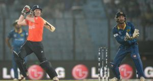 Eoin Morgan of England bats during the ICC World Twenty20 Bangladesh 2014 Group 1 match against Sri Lanka at Zahur Ahmed Chowdhury Stadium  in Chittagong, Bangladesh. Photograph:  Gareth Copley/Getty Images