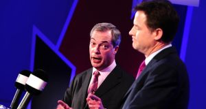 Deputy prime minister Nick Clegg (right) and Ukip (UK Independence Party) leader Nigel Farage, debate on Britain's future in the European Union. Photograph:  Ian West/WPA/ Getty Images