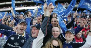 Leinster supporters in full flight. Photograph: Alan Betson
