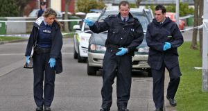 Gardai at the scene of the shooting outside a creche on Holywell Avenmue, Donaghmede, Dublin, last week. Photograph: Collins