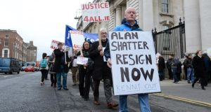 Awkward truths: protesters outside Government Buildings on Thursday, calling for the resignation of  Minister for Justice Alan Shatter. Photograph: Cyril Byrne