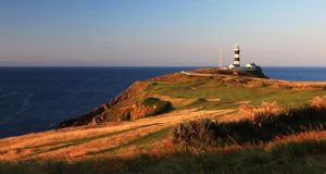 A view of the par 4, 4th hole at The Old Head Golf Links towards the Old Head of Kinsale Lighthouse. Photograph: David Cannon/Getty Images