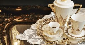 THREE OF THE BEST . . . DESIGNER LOOKS FOR LESS 1960s brand Biba is mining the art deco era with its Biba Living's Starburst dinner set, a luxe way to liven up supper parties. The dinner plate (€16), teapot (€39), cup and saucer set (€16) and Odette 24-piece gold cutlery set (€192) is now available at House of Fraser (01-299 1400 houseoffraser.co.uk), Dundrum.