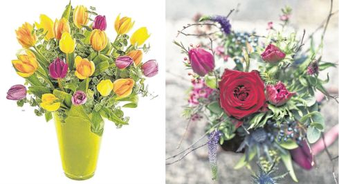 Left: Tulip Treat, €40 (€5 off for Irish Times readers), Celine's Flowers and Gifts, Tallaght, Dublin; right: Spring bouquet, from €50, The Garden, Powerscourt Townhouse, Dublin 2