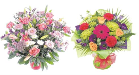 Left: Temple Street Bouquet, €70, Mad Flowers, St Margarets, Dublin; right: Rio bouquet, €48.90 (inc same day delivery) teleflorist.ie