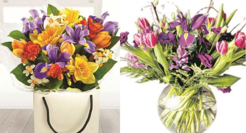 Left: Spring burst bouquet, €38, flowersmadeeasy.ie; left: purple hearts selection, from €40, Joy's Flowers, Ranelagh, Dublin 6