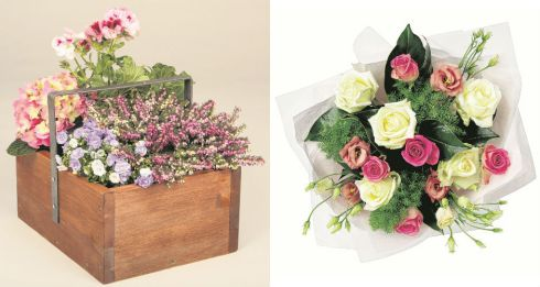 Left: A Box of Spring, €60 plus delivery, apassionate.ie; right: Mother's Day bouquet, €15 Marks & Spencer