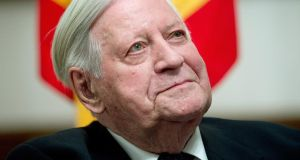 "Former German chancellor Helmut Schmidt  warned western leaders against pushing for military action in Ukraine, saying this would ""possibly stimulate the Russian appetite"". Photograph: EPA/Maurizio Gambarini"