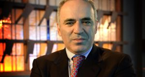 Garry Kasparov, considered the best chess player of all time, at the Clarence Hotel, Dublin, yesterday. Photograph: Brenda Fitzsimons / The Irish Times