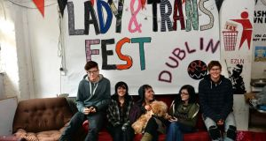 Some of the organisers of this weekend's Lady & Trans Fest at Seomra Spraoi in Dublin with Muesli the dog. Photograph: Brenda Fitzsimons.