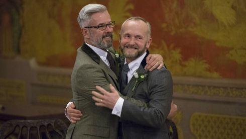 Neil Allard (R) and Andrew Wale are married in the Music Room of Brighton's Royal Pavilion shortly after midnight in one of the UK's first same-sex weddings on March 29th , 2014 in Brighton, England. Photograph: Oli Scarff/Getty Images)