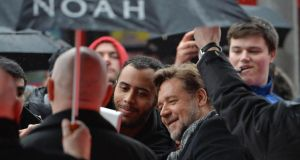 Russell Crowe (centre) attending the premiere of Noah at the Savoy cinema, Dublin. Photograph: Artur Widak/PA Wire
