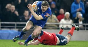 Leinster's Brian O'Driscoll goes over for the game's only try against Munster in the RaboDirect Pro 12 clash at the  Aviva Stadium. Photograph: Dan Sheridan/Inpho