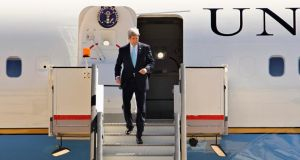 US secretary of state John Kerry leaves his plane as he arrives in Amman last week. Photograph:  Muhammad Hamed /Reuters