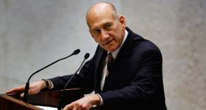 An Israeli court  today convicted former prime minister Ehud Olmert of bribery.  Photograph: David Silverman/Pool/Files