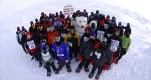 Some of the participants of the North Pole marathon. Photograph: Mike King