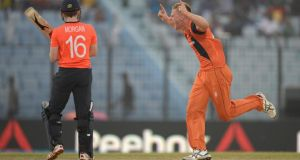 Timm van der Gugten of the Netherlands celebrates dismissing Eoin Morgan of England during the ICC World Twenty20 match in Chittagong, Bangladesh. Photograph: Gareth Copley/Getty Images