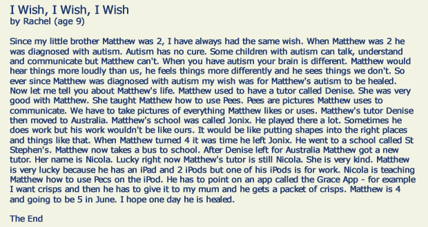 i wish i wish i wish my brother could be healed of autism  letter ""