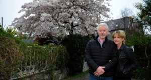 Nick Dunning and his wife Lise-Ann McLaughlin in their garden in Dalkey. Photograph: Aidan Crawley