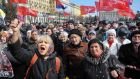 Pro-Russian demonstrators  in a rally in Kharkiv on March 30th. Thousands of people have marched through cities like Kharkiv, Donetsk and Luhansk on recent weekends, waving Russian and Soviet flags. Photograph: Reuters