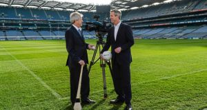 GAA director Páraic Duffy (left) and Sky Ireland managing director JD Buckley at Croke Park for the announcement of the TV station's acquisition of exclusive broadcasting rights to nine championship games for three years. Photograph: Brendan Moran/Sportsfile