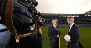 Ard Stiúrthóir of the GAA Páraic Duffy, left, and JD Buckley, managing director, Sky Ireland at the announcment of the new broadcasting rights agreement. Photograph: Paul Mohan / Sportsfile