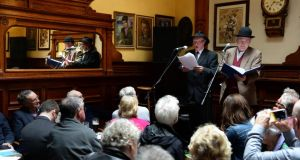 Val O'Donnell and Jim Butler perform during Myles Day, a celebration of the life and works of Flann O'Brien in the Palace Bar, Fleet Street, Dublin, yesterday. Photograph; Dara Mac Dónaill