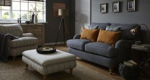 The calm room: warm greys and sandy tones with small flashes of colour
