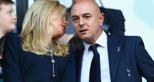Tottenham Hotspur chairman Daniel Levy (right) and his wife Tracy Dixon   at White Hart Lane. Photograph:  Paul Gilham/Getty Images