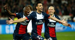 Paris St Germain's Javier Pastore (centre) celebrates with team-mates after scoring that vital third goal.