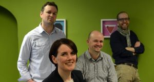 Linda Duffy, Aidan Ahern, Owen Barry and Garry Wiley of Create brand consultancy at Mountjoy Square. Photograph: Cyril Byrne