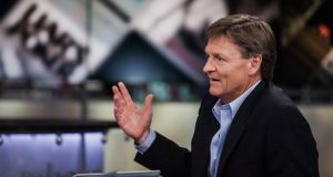 Michael Lewis, author of Flash Boys: A Wall Street Revolt, speaks during a Bloomberg Television interview in New York, on Wednesday, where he discussed high-frequency trading and the structure of the US equity market with Brad Katsuyama, chief executive officer of IEX Group Inc. Photograph: Chris Goodney/Bloomberg