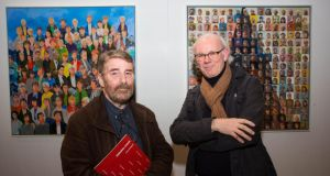 Pride of place: artists Charles Harper and Richard Slade at the 'Personal Choice' exhibition. Photograph: Alan Place.