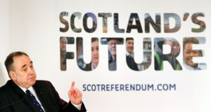 Scotland First Minister Alex Salmond holds a public discussion on Scottish independence at the Volunteer Rooms in Irvine, Scotland.