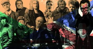 Left to right, back; James Joyce,John Lydon, Jonathan Swift, Stephen Patrick Morrissey, Andy Irvine, Luke Kelly, Elvis Costello;Front: the Gallagher brothers Liam and Noel, Philip Chevron, Boy George,Oscar Wilde and Shane McGowan.